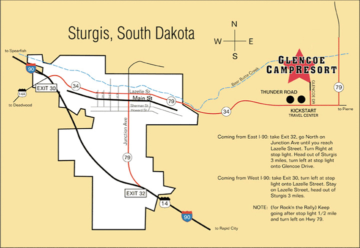 Map of Glencoe CampResort | Getting to the Sturgis Motorcycle Rally ...